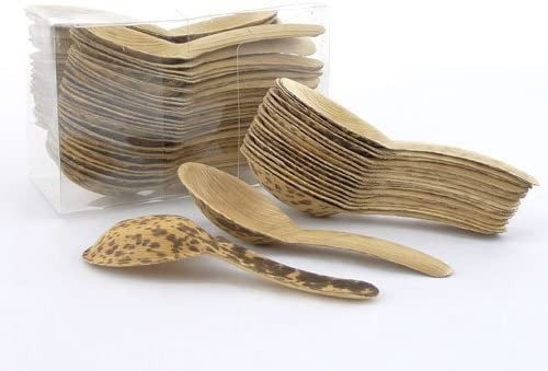 """5.1"""" Premium Bamboo Leaf Chinese Soup Spoons"""