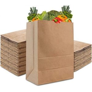Brown Kraft Paper Grocery Bags with vegetables