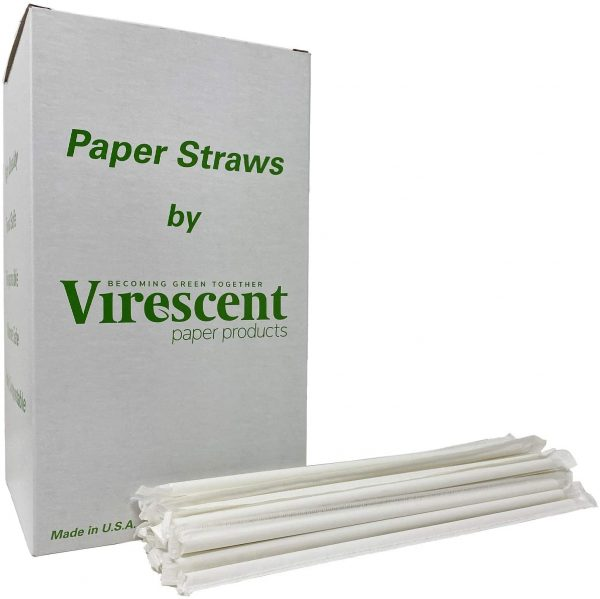 Box of individually wrapped virescent, white, jumbo paper straws