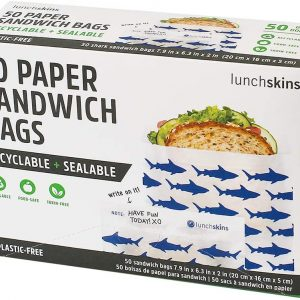 box of Lunchskins Recyclable + Sealable Paper Sandwich Bags with sharks