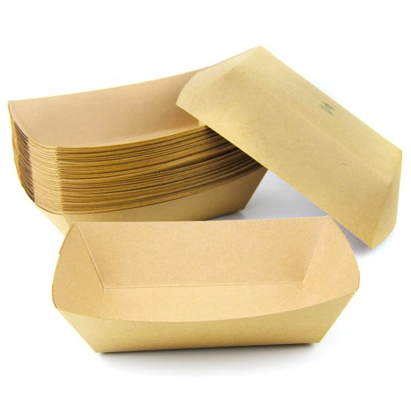 0.50 lb Heavy Duty Disposable Kraft Brown Paper Food Trays