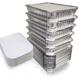 Aluminum container with paper lid