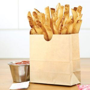 stand up french fry bag with french fries and ketchup in an aluminum container on the side (small)