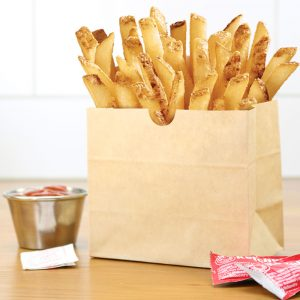 stand up french fry bag with french fries and ketchup in an aluminum container on the side (large)
