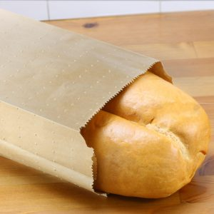 Large Kraft Paper Bread Bag with Mirco-Perforations with bread