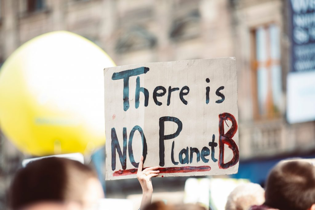"Hand holding sign that says, ""There is NO Planet B."""