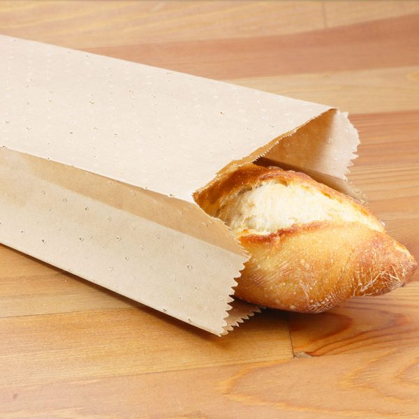 Small Kraft Paper Bread Bag with Mirco-Perforations with baguette