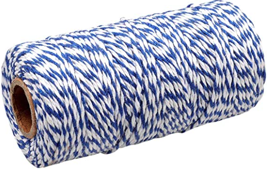 blue and white twine