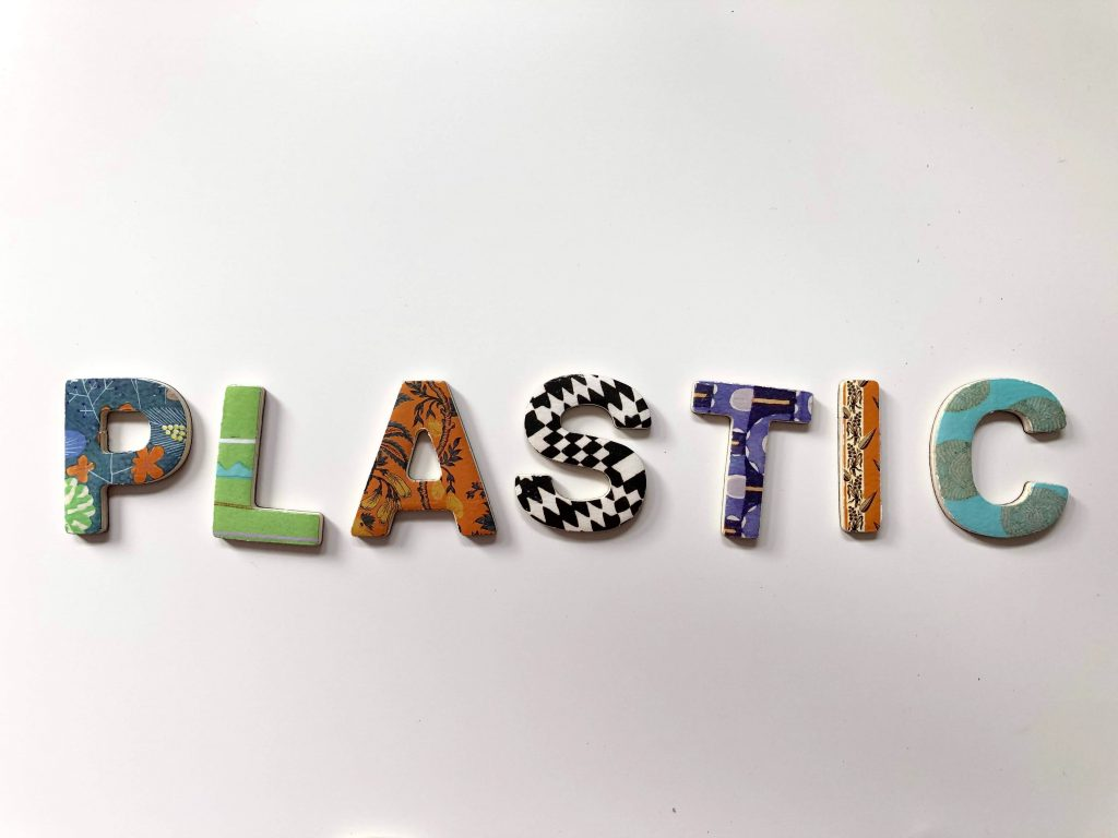plastic spelled out with patterned letters