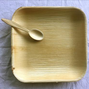 square palm leaf plate with spoon