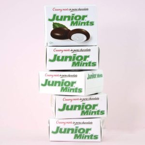 mini boxes of junior mints stacked